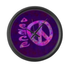 Pink Peace Large Wall Clock