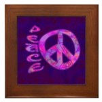 Pink Peace Framed Tile