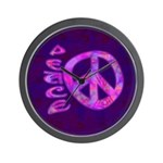 Pink Peace Wall Clock