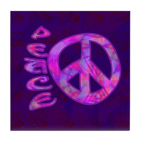 Pink Peace Tile Coaster