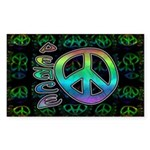 Rainbow Peace Sticker (Rectangle 50 pk)