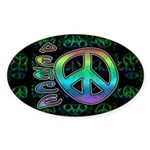 Rainbow Peace Sticker (Oval 10 pk)