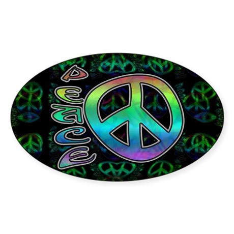 Rainbow Peace Sticker (Oval)