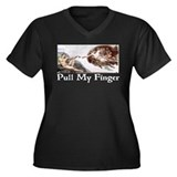 Pull My Finger Women's Plus Size V-Neck Dark T-Shi