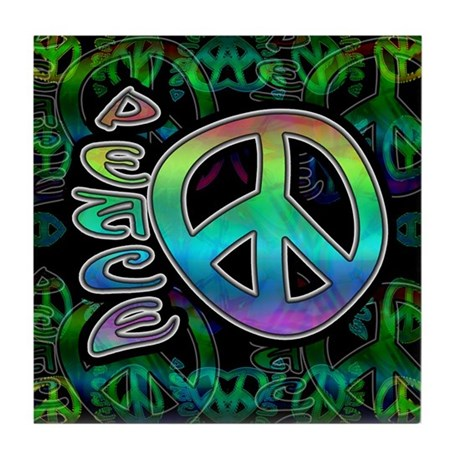 Rainbow Peace Tile Coaster