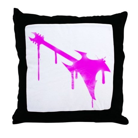 Graffiti Pink Guitar Throw Pillow