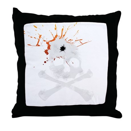 Bullet to the skull Throw Pillow