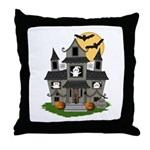 Halloween Haunted House Ghosts Throw Pillow