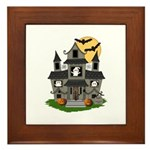 Halloween Haunted House Ghosts Framed Tile