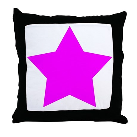 White Emo Star Throw Pillow