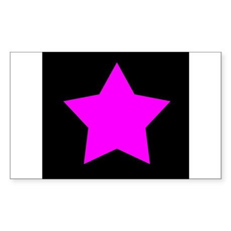 Black Emo Star Rectangle Sticker