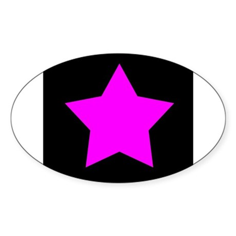 Black Emo Star Oval Sticker