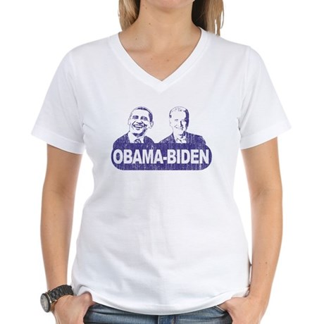 Vintage Obama-Biden Women's V-Neck T-Shirt