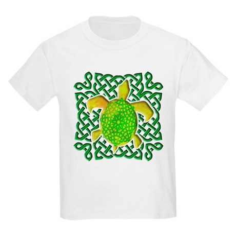 Celtic Knot Turtle (Green) Kids Light T-Shirt