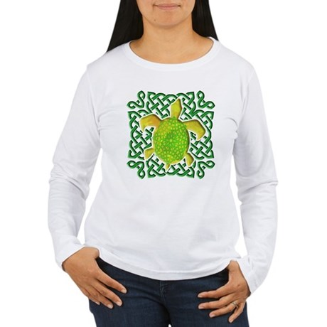 Celtic Knot Turtle (Green) Women's Long Sleeve T-S