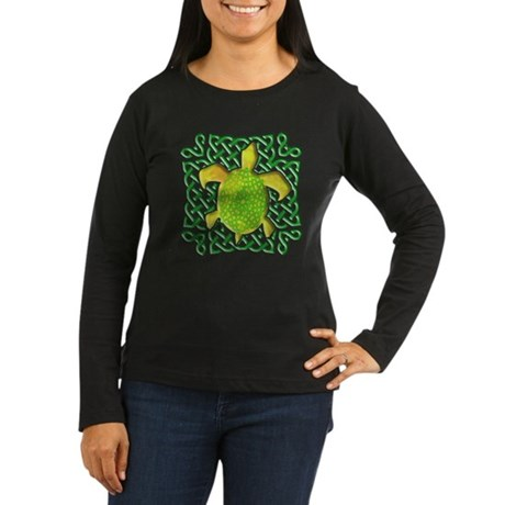 Celtic Knot Turtle (Green) Women's Long Sleeve Dar