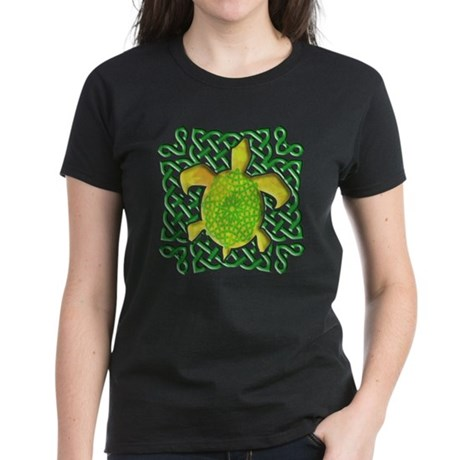 Celtic Knot Turtle (Green) Women's Dark T-Shirt