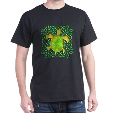 Celtic Knot Turtle (Green) Dark T-Shirt