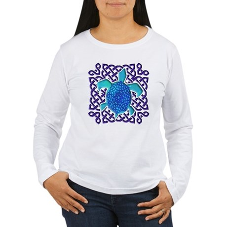 Celtic Knot Turtle (Blue) Women's Long Sleeve T-Sh