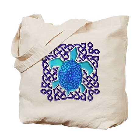 Celtic Knot Turtle (Blue) Tote Bag