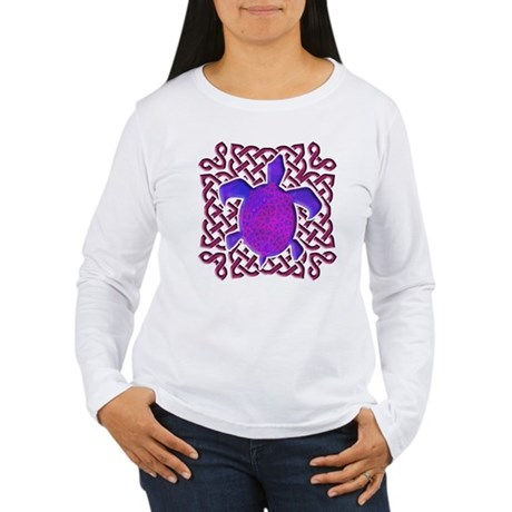 Celtic Knot Turtle (Purple) Women's Long Sleeve T-