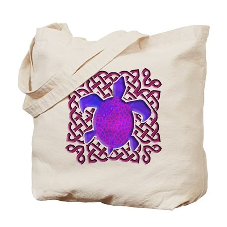 Celtic Knot Turtle (Purple) Tote Bag