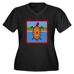 Southwestern Sea Turtle Scene Women's Plus Size V-