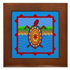 Southwestern Sea Turtle Scene Framed Tile