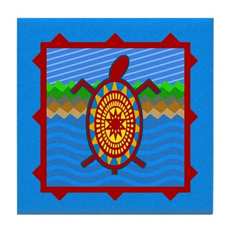 Southwestern Sea Turtle Scene Tile Coaster