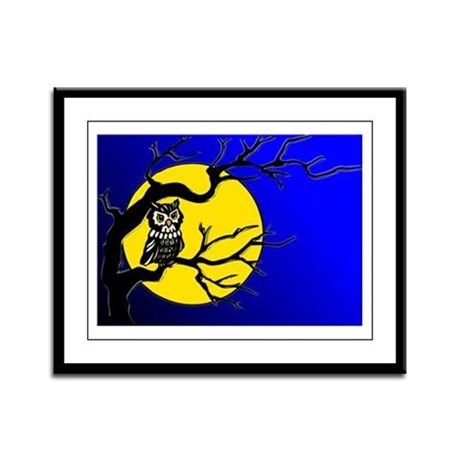 Harvest Moon Owl Framed Panel Print
