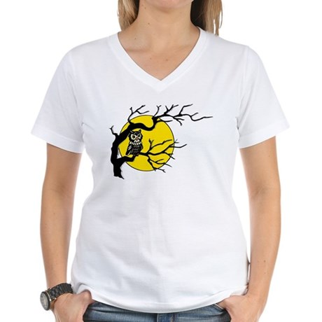 Harvest Moon Owl Women's V-Neck T-Shirt