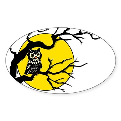 Harvest Moon Owl Oval Sticker (50 pk)
