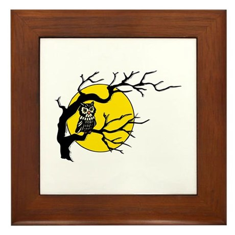 Harvest Moon Owl Framed Tile