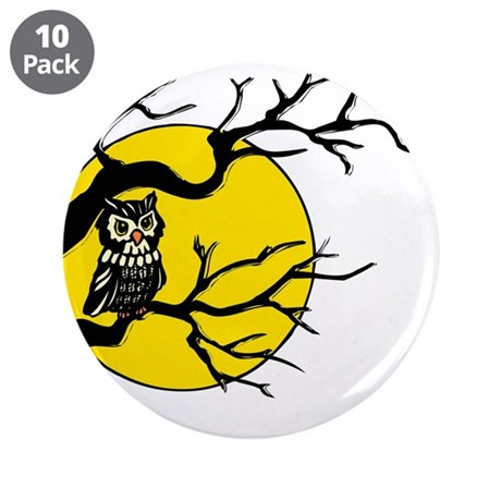 "Harvest Moon Owl 3.5"" Button (10 pack)"