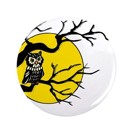 "Harvest Moon Owl 3.5"" Button"