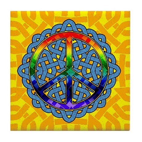 Celtic Knot Peace Symbol Tile Coaster