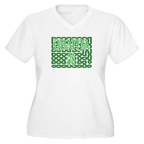 Obama Celtic Knotwork Women's Plus Size V-Neck T-S