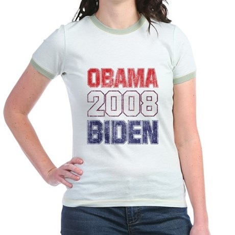 Obama-Biden (2008 vintage) Jr. Ringer T-Shirt