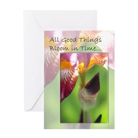 All Good Things Bloom in Time Greeting Card