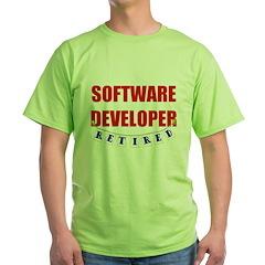 Retired Software Developer Green T-Shirt