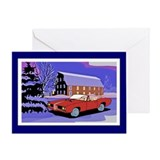 Scenery Muscle Car Christmas Greeting Card