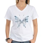 Blue Tribal Butterfly Tattoo Women's V-Neck T-Shirt