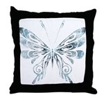 Blue Tribal Butterfly Tattoo Throw Pillow
