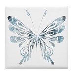 Blue Tribal Butterfly Tattoo Tile Coaster