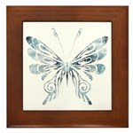 Blue Tribal Butterfly Tattoo Framed Tile