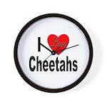 I Love Cheetahs for Cheetah Lovers Wall Clock