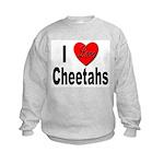 I Love Cheetahs (Front) Kids Sweatshirt