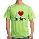 I Love Cheetahs for Cheetah Lovers Green T-Shirt