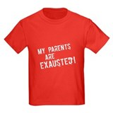 Exhausted Parents (white text) Kids Navy T-Shirt