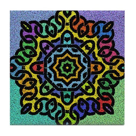 Colorful Celtic Knot Tile Coaster